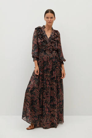 maxi jurk met all over print en ruches zwart