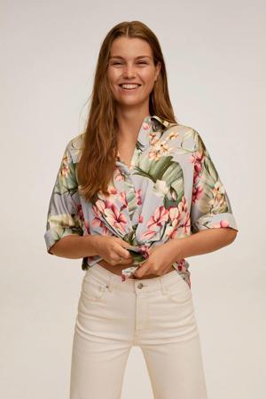 gebloemde blouse grijs