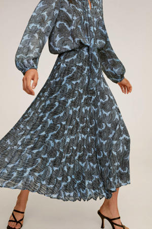 plissé rok met all over print blauw
