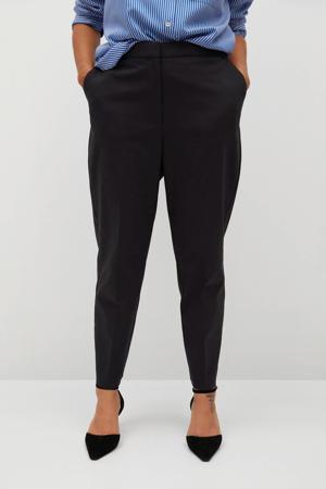 cropped high waist slim fit pantalon marine