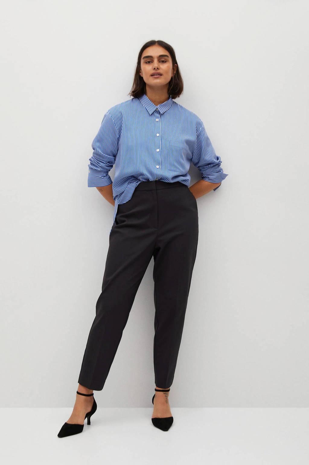 Violeta by Mango cropped high waist slim fit pantalon marine, Marine
