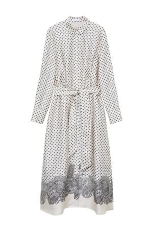blousejurk met paisleyprint en ceintuur wit