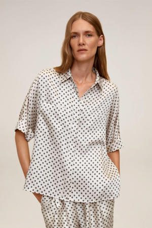 blouse met all over print ecru