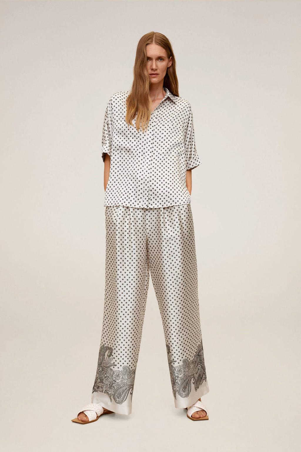 Mango blouse met all over print ecru, Ecru