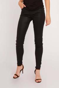 Morgan skinny 5-pocket broek met glanzende coating zwart, Zwart