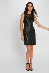 Morgan imitatieleren jurk zwart, Zwart