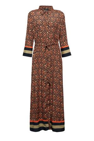 maxi blousejurk met all over print en plooien oranje/beige/donkerblauw