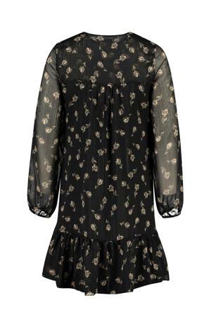 gebloemde semi-transparante jurk zwart/ecru/goud