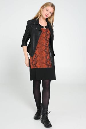 coated jurk met slangenprint en 3D applicatie zwart/roodbruin