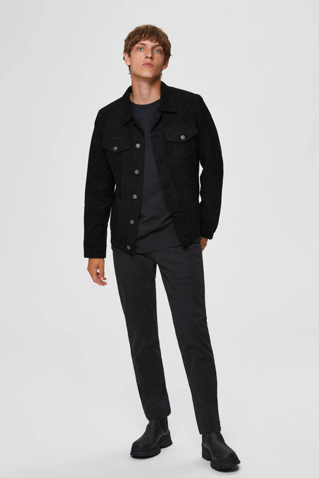 SELECTED HOMME straight fit chino zwart, Zwart