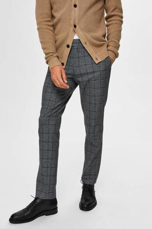 geruite slim fit pantalon grijs
