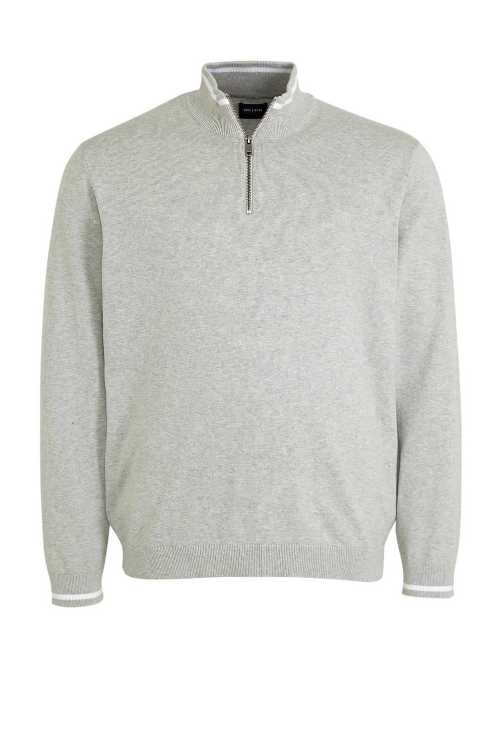 ONLY & SONS PLUS gemêleerde fijngebreide trui Christoph met contrastbies Plus Size grijs, Grijs