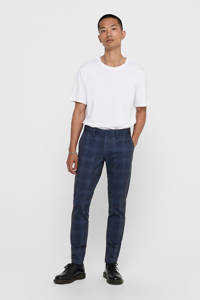 ONLY & SONS geruite slim fit pantalon Mark blauw, Blauw
