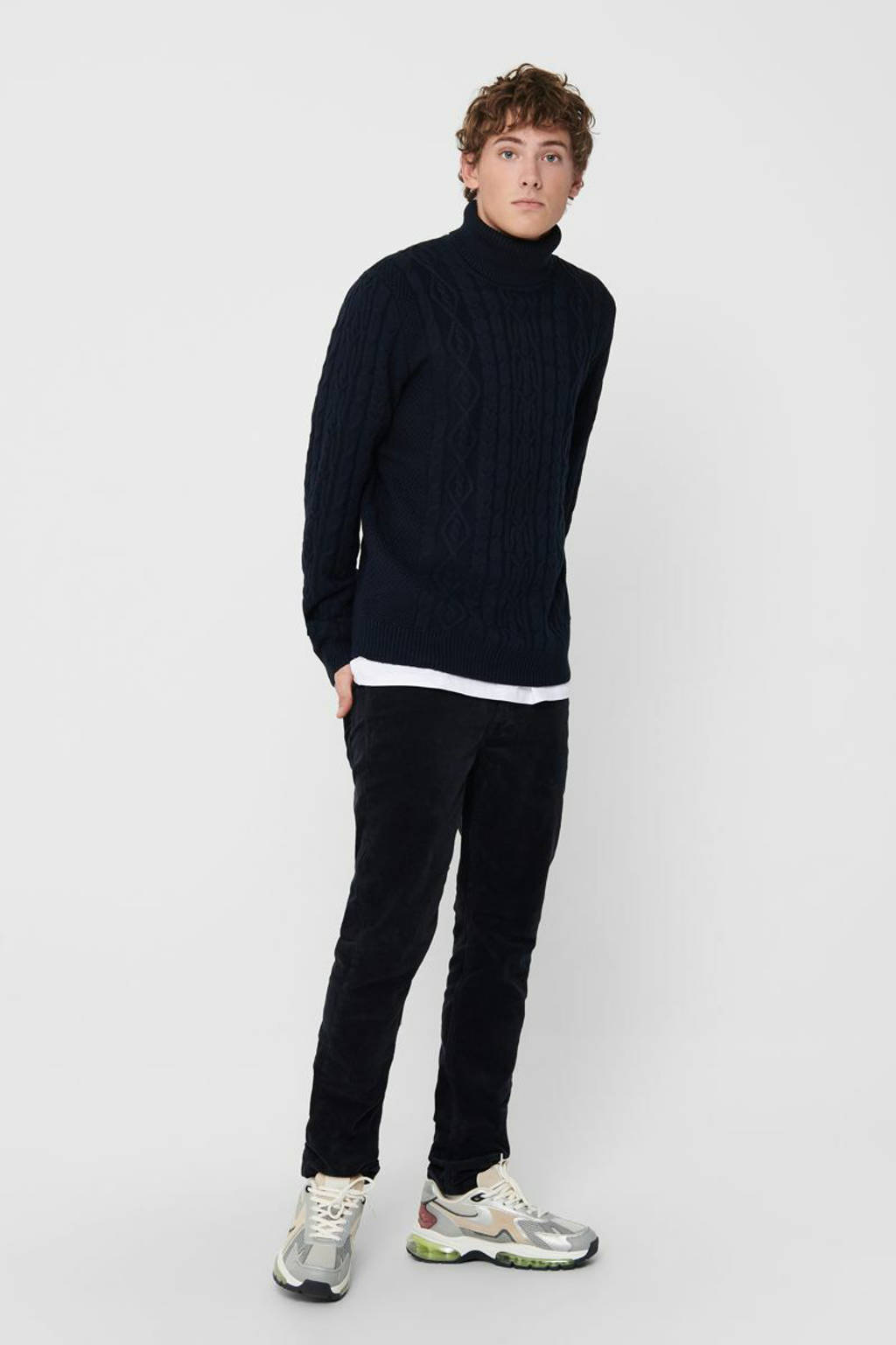 ONLY & SONS kabeltrui donkerblauw, Donkerblauw