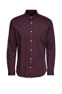ONLY & SONS slim fit overhemd met all over print aubergine, Aubergine