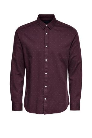 slim fit overhemd met all over print aubergine
