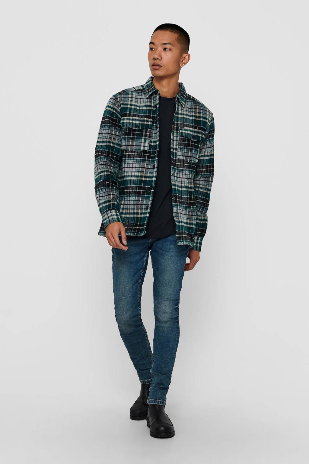 ONLY & SONS geruit flanellen regular fit overhemd grijs/groen, Grijs/groen