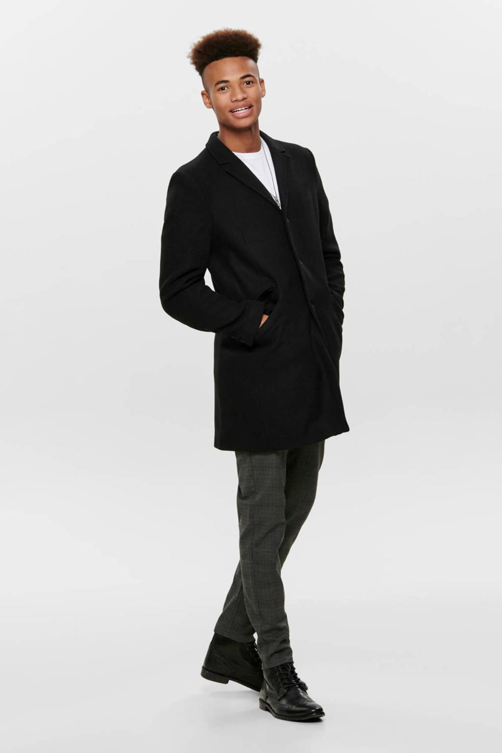 ONLY & SONS winterjas met wol zwart, Zwart