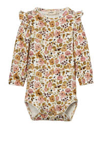 LIL' ATELIER BABY romper bloemen beige/geel/roze