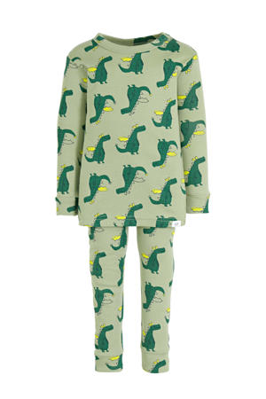 baby pyjama met all over print groen