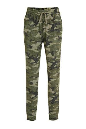 regular fit broek met camouflageprint groen