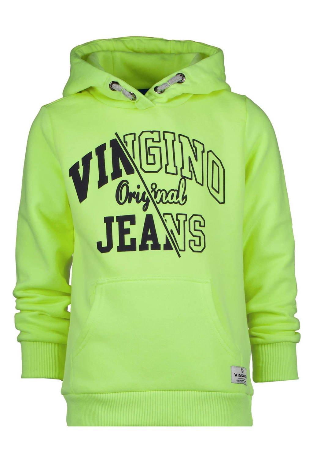Vingino hoodie Naoki met logo neon geel, Neon geel
