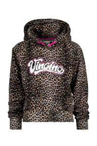 Vingino hoodie Norien met panterprint bruin/lichtbruin, Bruin/lichtbruin