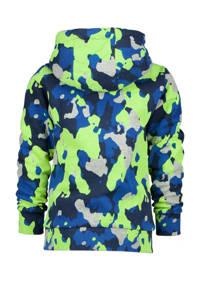 Vingino hoodie Nart met camouflageprint grijs/blauw/neon geel, Grijs/blauw/neon geel