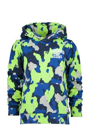 hoodie Nart met camouflageprint grijs/blauw/neon geel