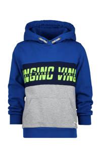 Vingino hoodie Nevy met logo blauw/grijs melange, Blauw/grijs melange