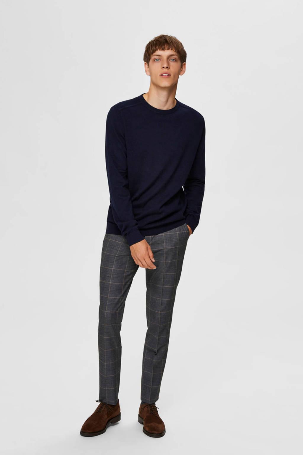 SELECTED HOMME fijngebreide trui donkerblauw, Donkerblauw