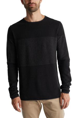 gestreepte trui van biologisch katoen zwart