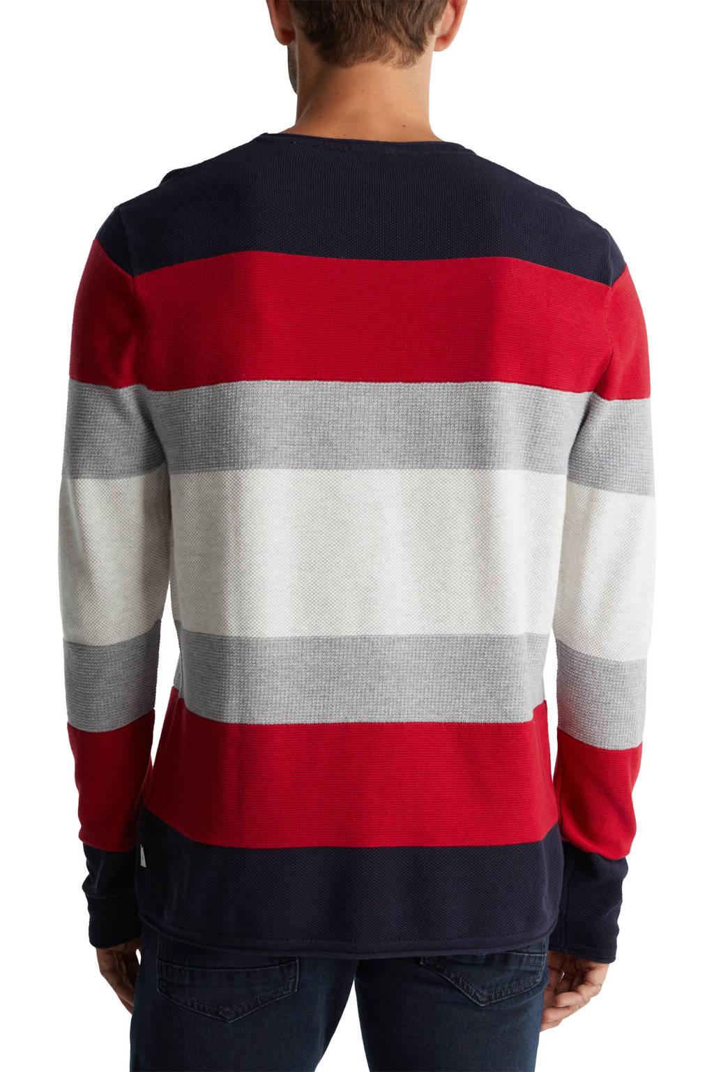 edc Men gestreepte fijngebreide trui van biologisch katoen rood/grijs/donkerblauw, Rood/grijs/donkerblauw