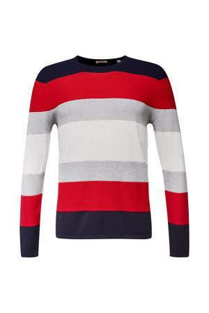 gestreepte fijngebreide trui van biologisch katoen rood/grijs/donkerblauw
