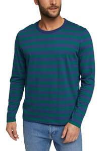 ESPRIT Men Casual gestreepte longsleeve van biologisch katoen blauw/groen, Blauw/groen