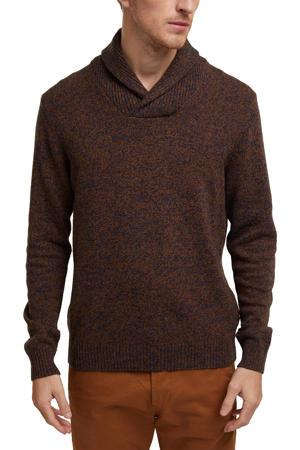 gemêleerde trui met wol bruin