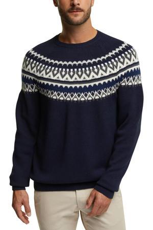 trui met wol en all over print donkerblauw