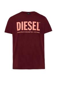 Diesel T-shirt met logo donkerrood, Donkerrood