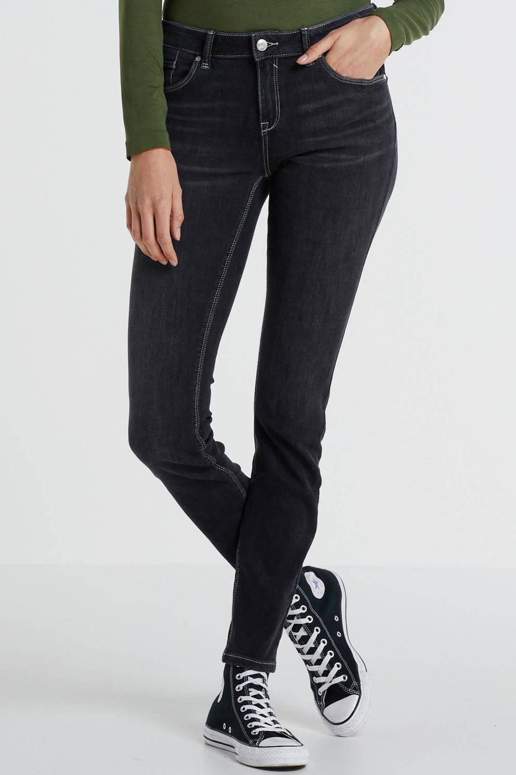 anytime mid rise skinny fit jeans zwart, Zwart