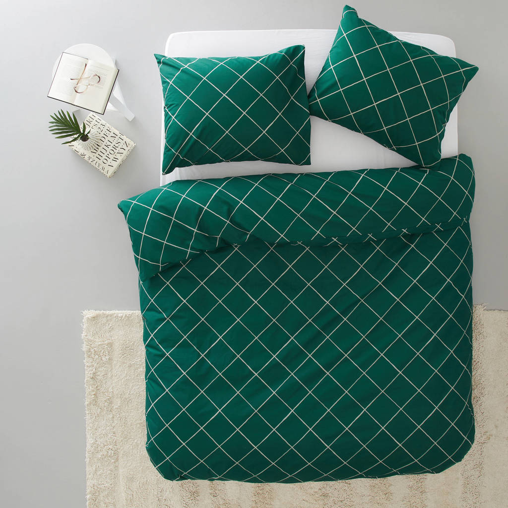 wehkamp home katoenen dekbedovertrek lits-jumeaux, Groen-wit, Lits-jumeaux (240 cm breed)