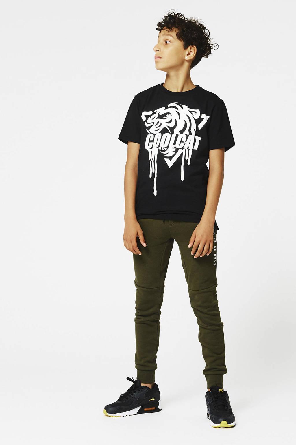 CoolCat Junior T-shirt Eran met printopdruk zwart, Zwart