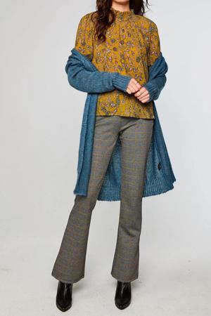 geruite high waist flared broek Chiara grijs/geel