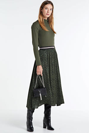rok Melila Dots met all over print en glitters donkerbruin