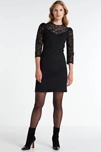 Aaiko semi-transparante jurk met kant zwart, Zwart