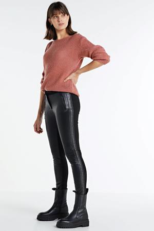 imitatieleren slim fit broek zwart