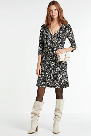 jurk met all over print en ceintuur zwart/wit/groen
