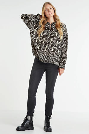 blouse met all over print zwart/ecru
