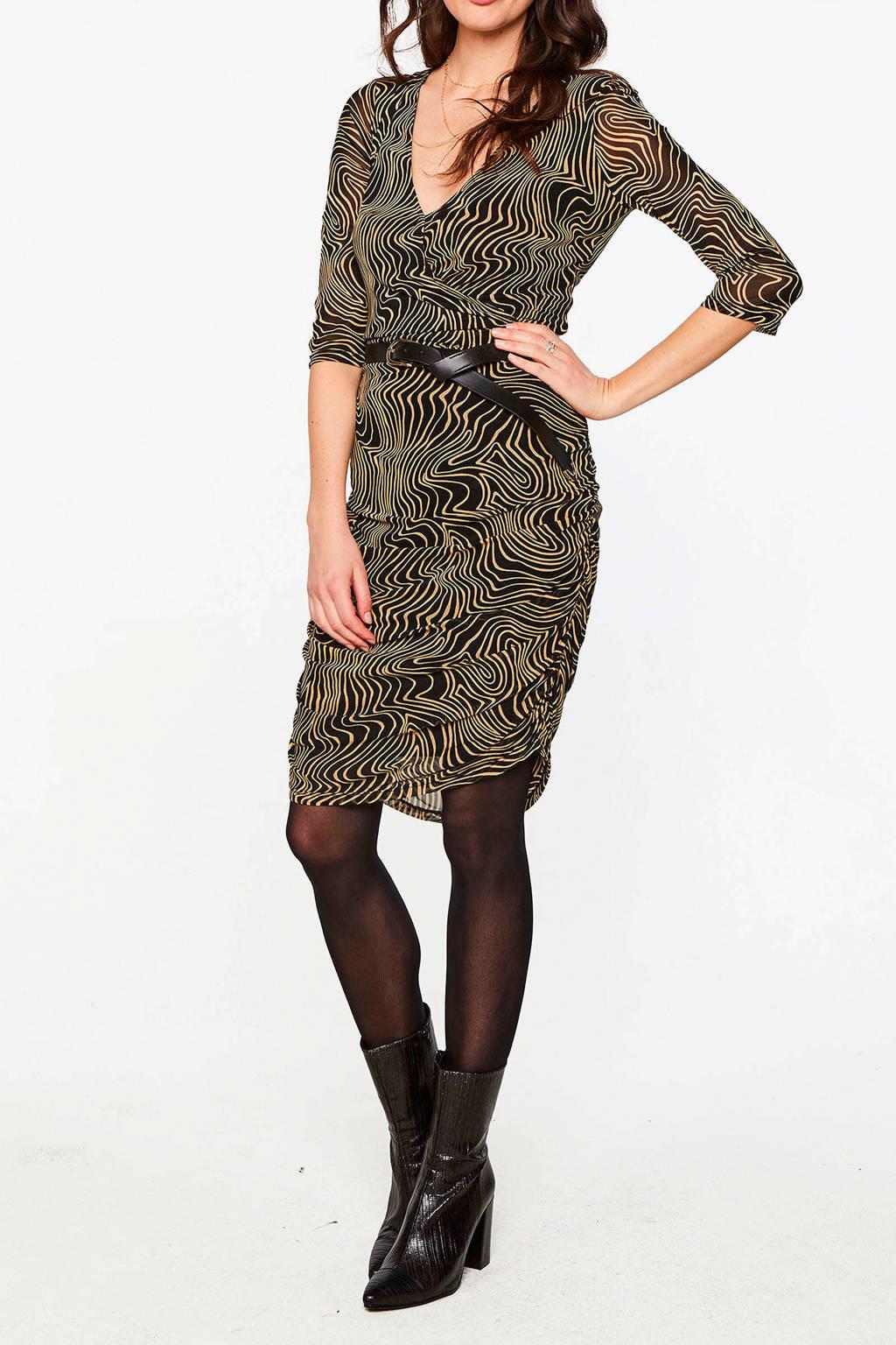 Aaiko jurk Sarone met all over print bruin, Bruin