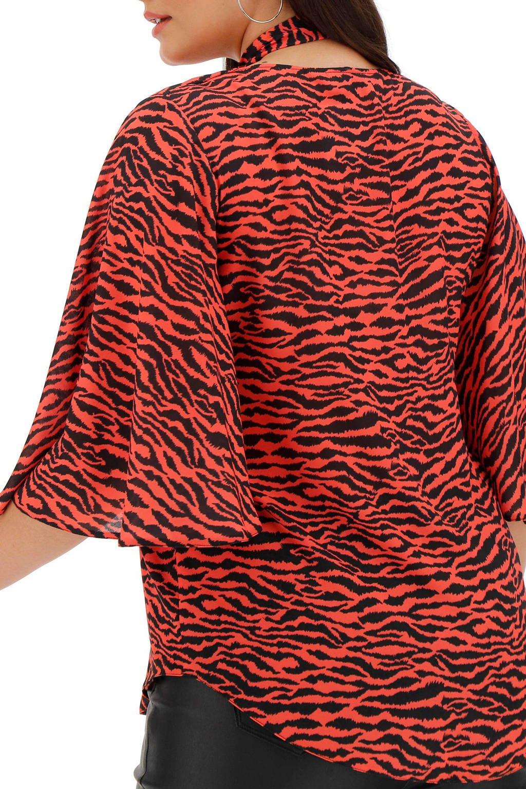 Simply Be top met zebraprint rood, Rood