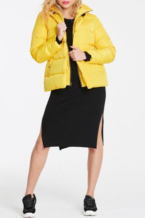 gewatteerde jas met ceintuur geel/zwart